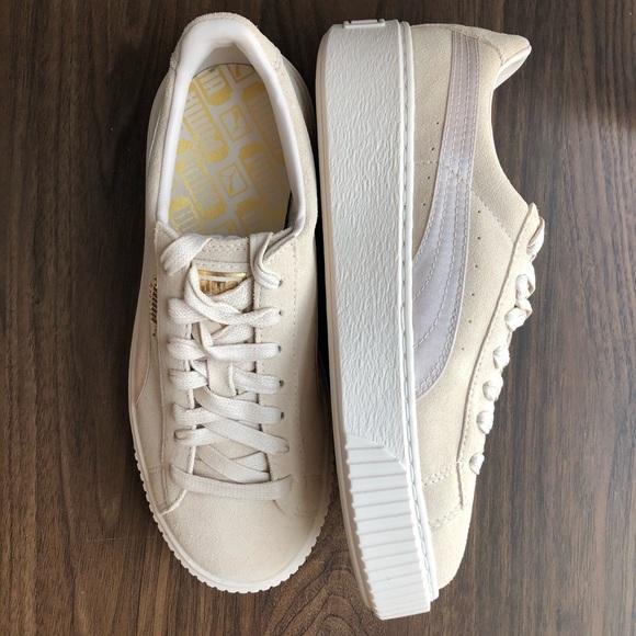 beige puma sneaker suede platform mono satin